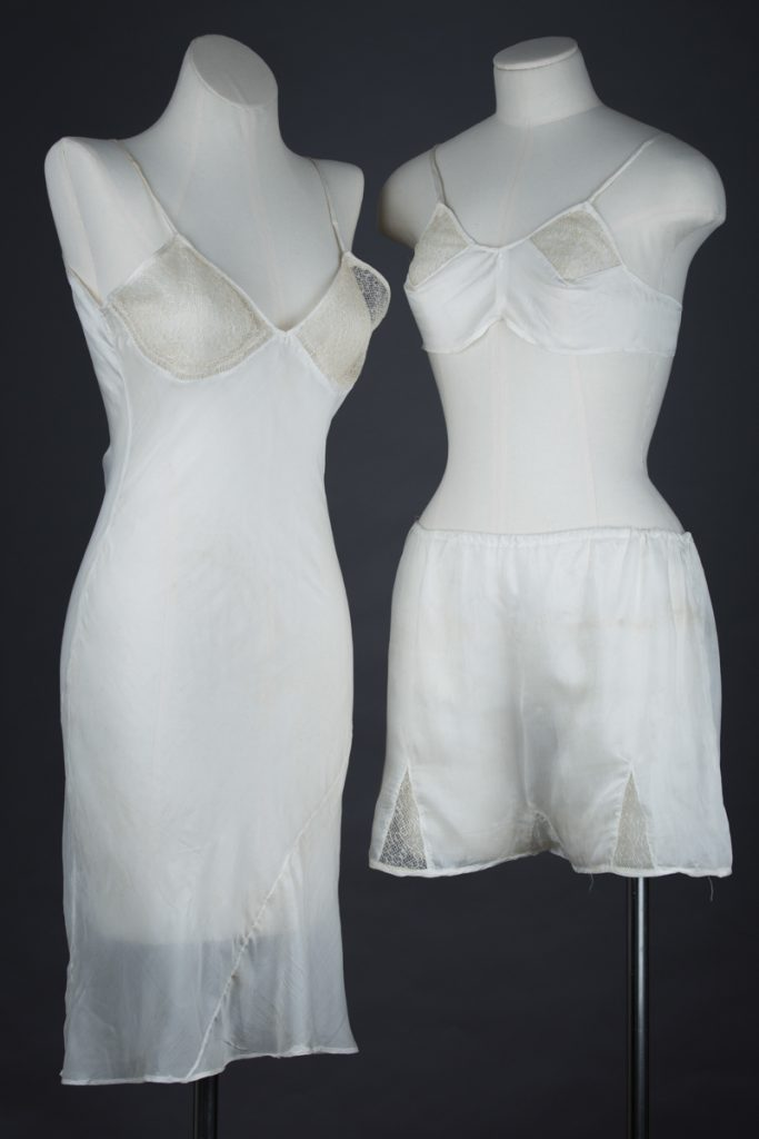 Homemade Parachute Silk & Tulle Slip, Bra & Tap Pant Set, c. 1940s, Great Britain. The Underpinnings Museum. Photography by Tigz Rice