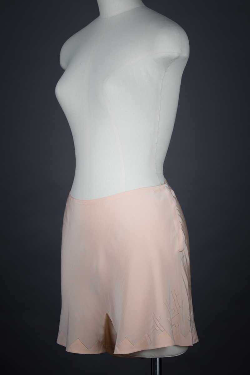 Silk Crepe Drawn Thread Work Tap Pants, c. 1930s, Great Britain. The Underpinnings Museum. Photography by Tigz Rice