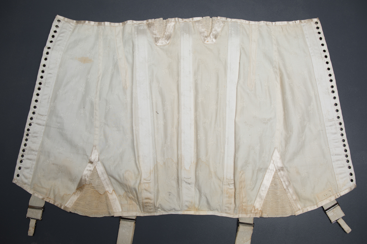 Front Lacing Brocade Girdle With Elastic Gussets & Ribbonwork, c. 1920s, Spain. The Underpinnings Museum. Photography by Tigz Rice