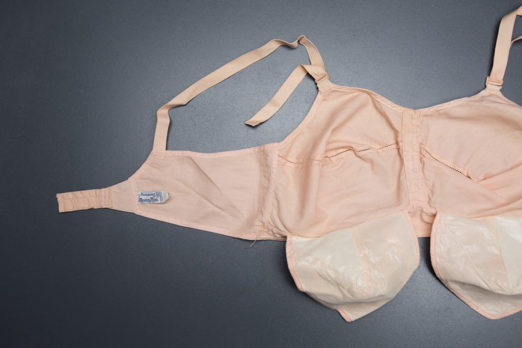 Cotton Nursing Bra With Faggoting Stitch By Maidenform, c. 1934, USA. The Underpinnings Museum. Photography by Tigz Rice