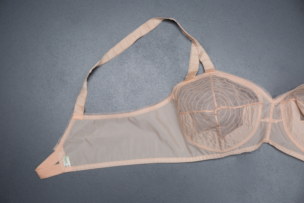 Spiral Stitched Nylon Tulle Bra By Java Lusso, c. 1950s, USA. The Underpinnings Museum. Photography by Tigz Rice