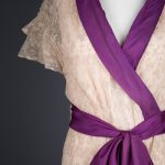 Ecru Embroidered Tulle Wrap Robe With Purple Silk Sash, c. 1920s. The Underpinnings Museum. Photography by Tigz Rice.