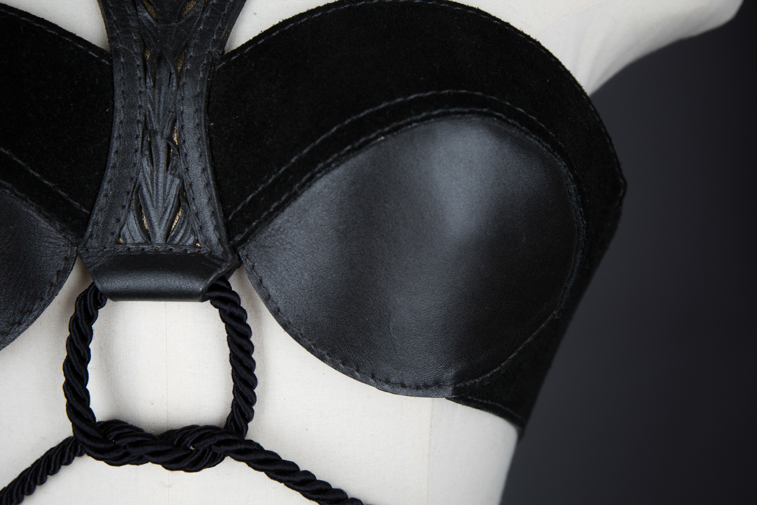 'Yatagarasu' Tooled Leather Bra by Cristiane Tano, 2015, Brazil. The Underpinnings Museum. Photography by Tigz Rice.
