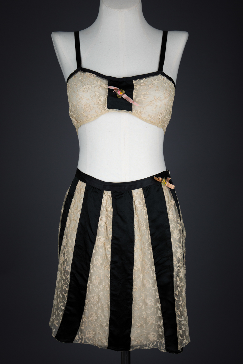 Black Silk & Embroidered Tulle Bra & Tap Pants by Owl Make, c. 1920s, USA. The Underpinnings Museum. Photography by Tigz Rice.