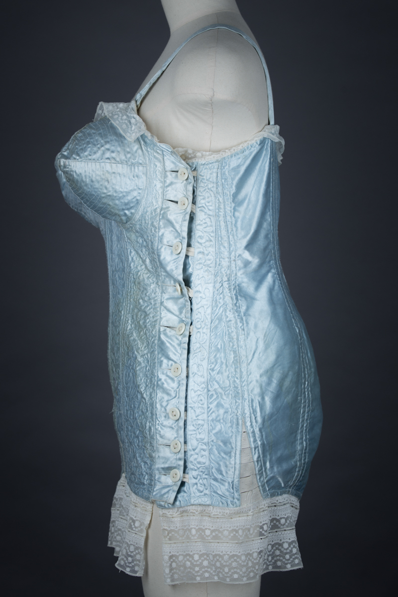 Pale Blue Satin Bullet Bra Corselet With Freehand Quilting, c. 1950s, Ukraine. The Underpinnings Museum. Photography by Tigz Rice.