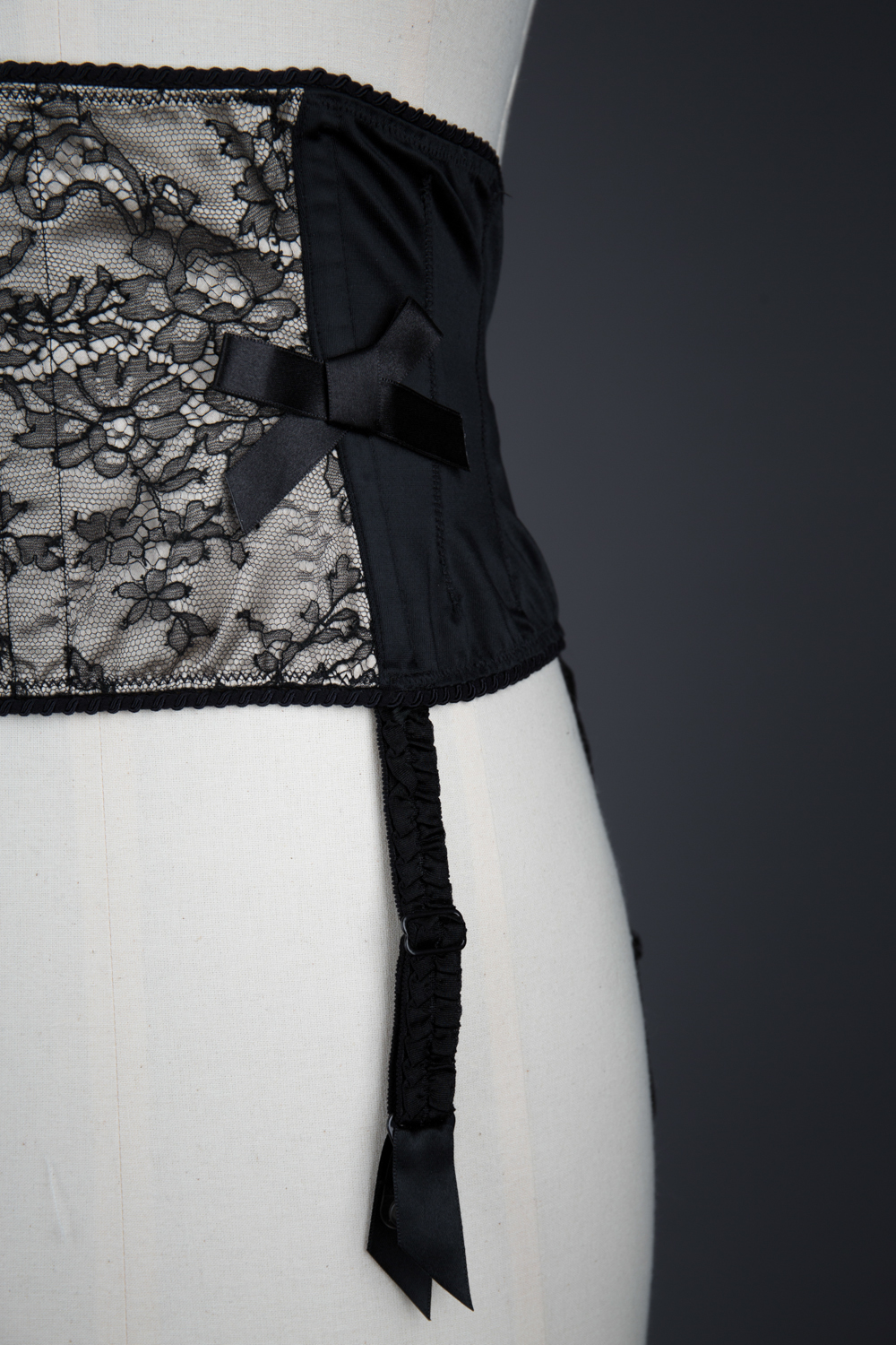 Leavers Lace & Stretch Satin Waist Cincher By Cadolle, c. 2000s, France. The Underpinnings Museum. Photography by Tigz Rice.