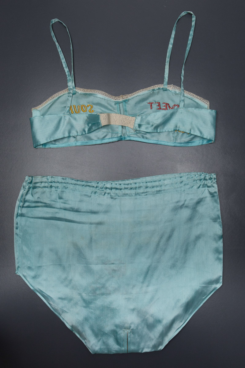 Embroidered Rayon WWII Souvenir Lingerie Set, c. 1940s, East or Southeast Asia. The Underpinnings Museum. Photography by Tigz Rice.