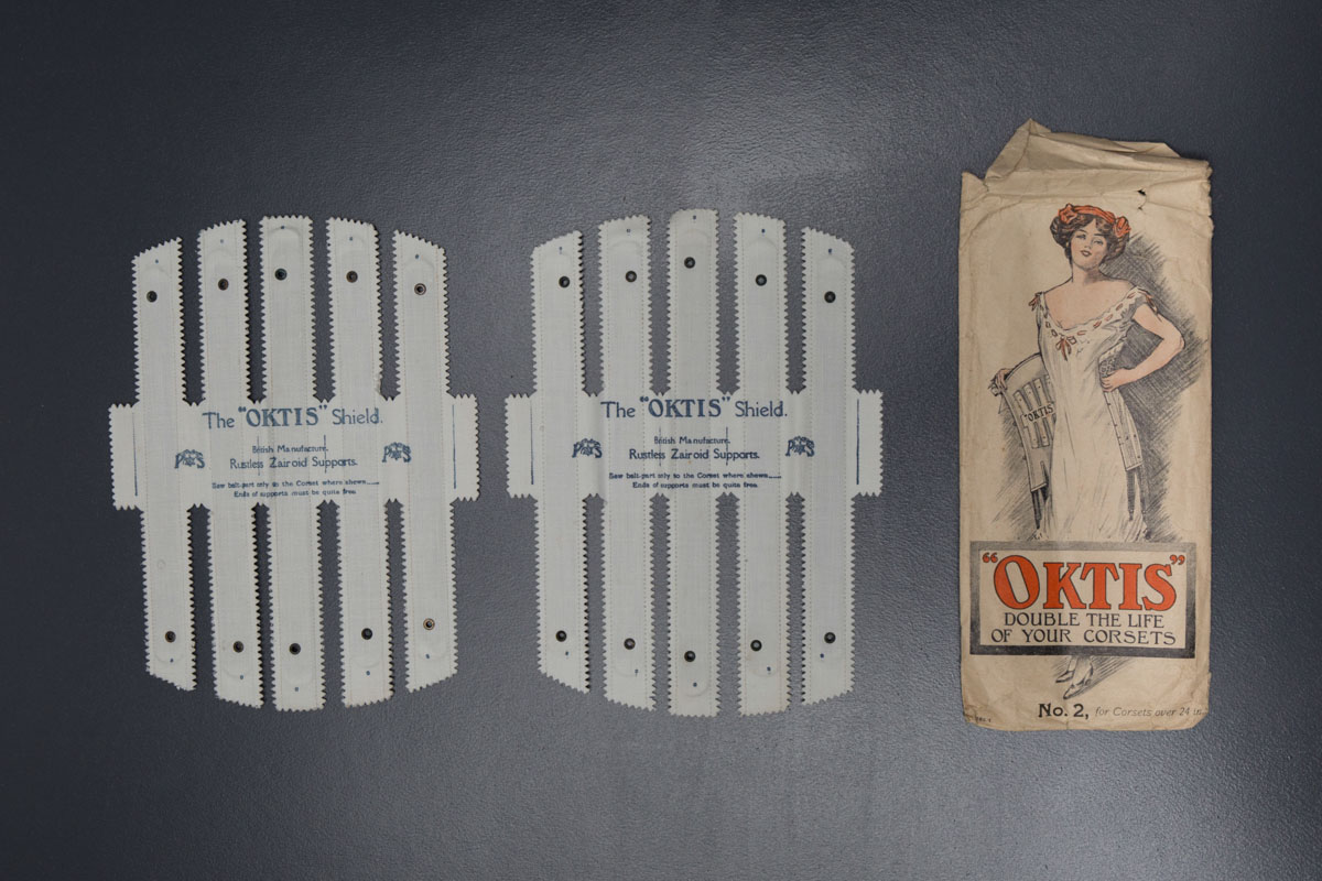 'Oktis' Corset Shields, c. 1900s, Great Britain. The Underpinnings Museum. Photography by Tigz Rice.