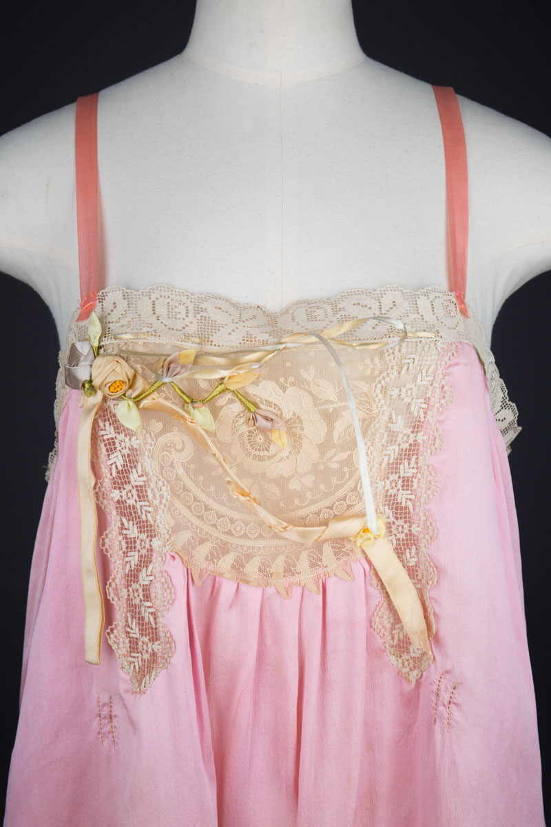 Pink Silk Step In Teddy With Lace Appliqué & Ribbonwork, c. 1920s, USA. The Underpinnings Museum. Photography by Tigz Rice