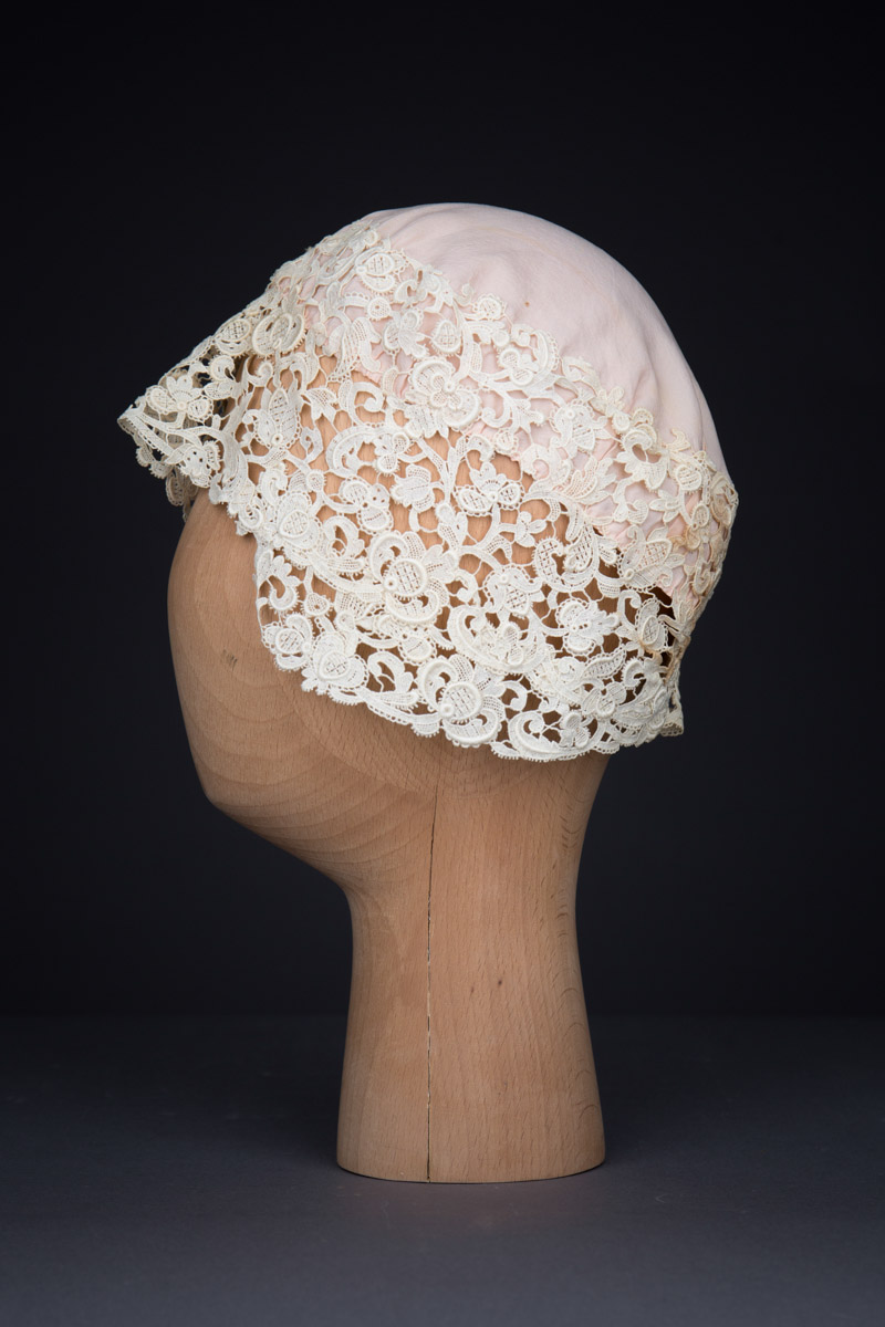 Guipure Lace & Silk Boudoir Cap, c.1920s, Great Britain. The Underpinnings Museum. Photography by Tigz Rice