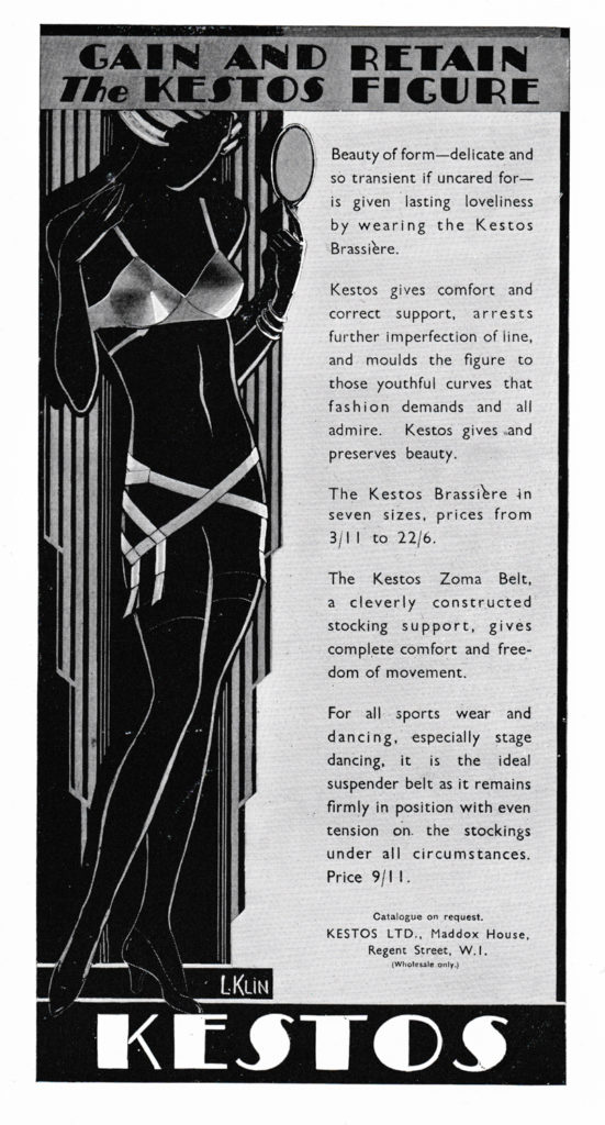 'Gain And Retain The Kestos Figure' Advertisement, 1931, Great Britain. The Underpinnings Musuem
