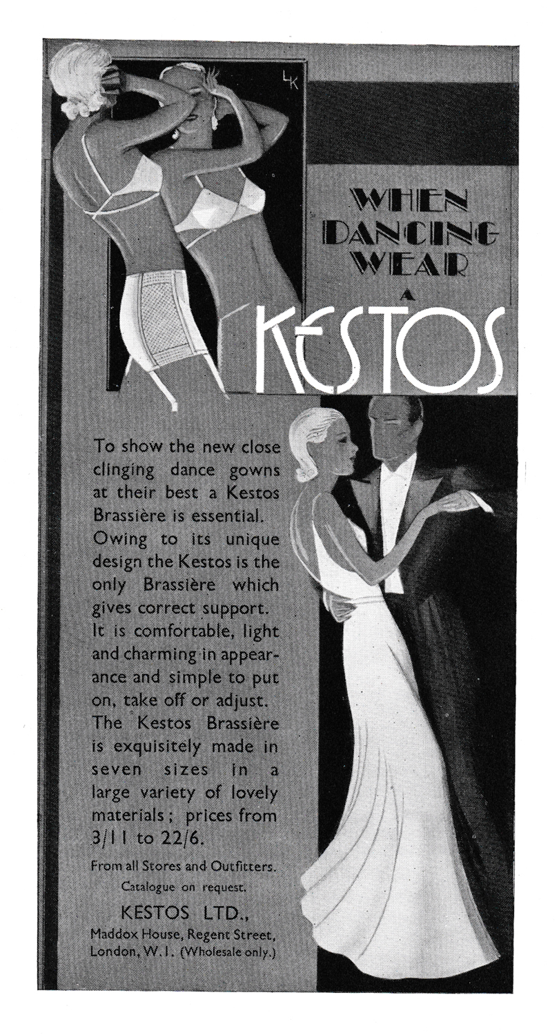 'When Dancing Wear A Kestos' Brassiere Advertisement, 1932, Great Britain. The Underpinnings Museum