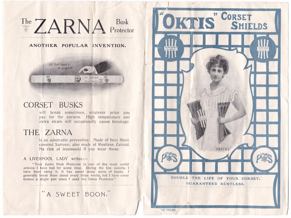 Oktis Corset Shield Packaging & Advert , c. 1900s, Great Britain The Underpinnings Musuem