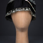 Black Silk Boudoir Cap With Machine Embroidered Trim & Ribbonwork, c. 1930s, Great Britain. The Underpinnings Museum. Photography by Tigz Rice