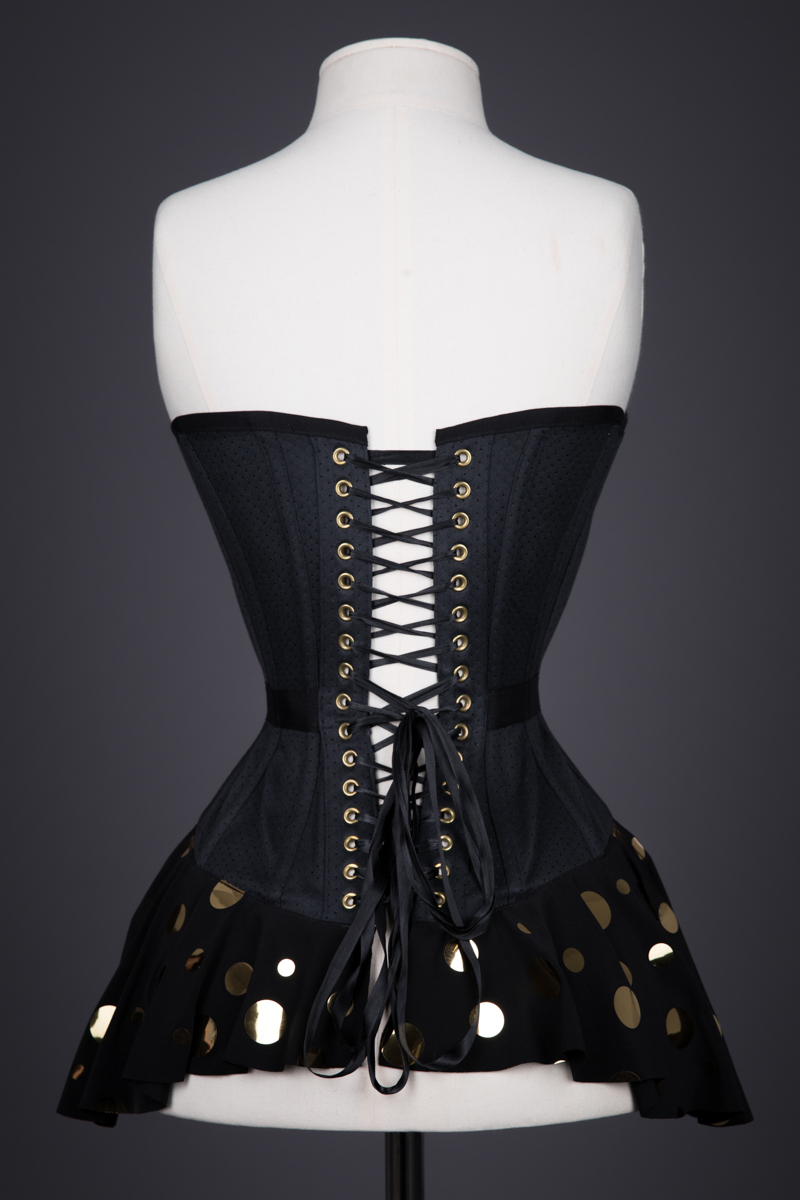 Polkadot Peplum Plunge Overbust Corset By Pop Antique, 2015, USA. The Underpinnings Museum. Photography by Tigz Rice.