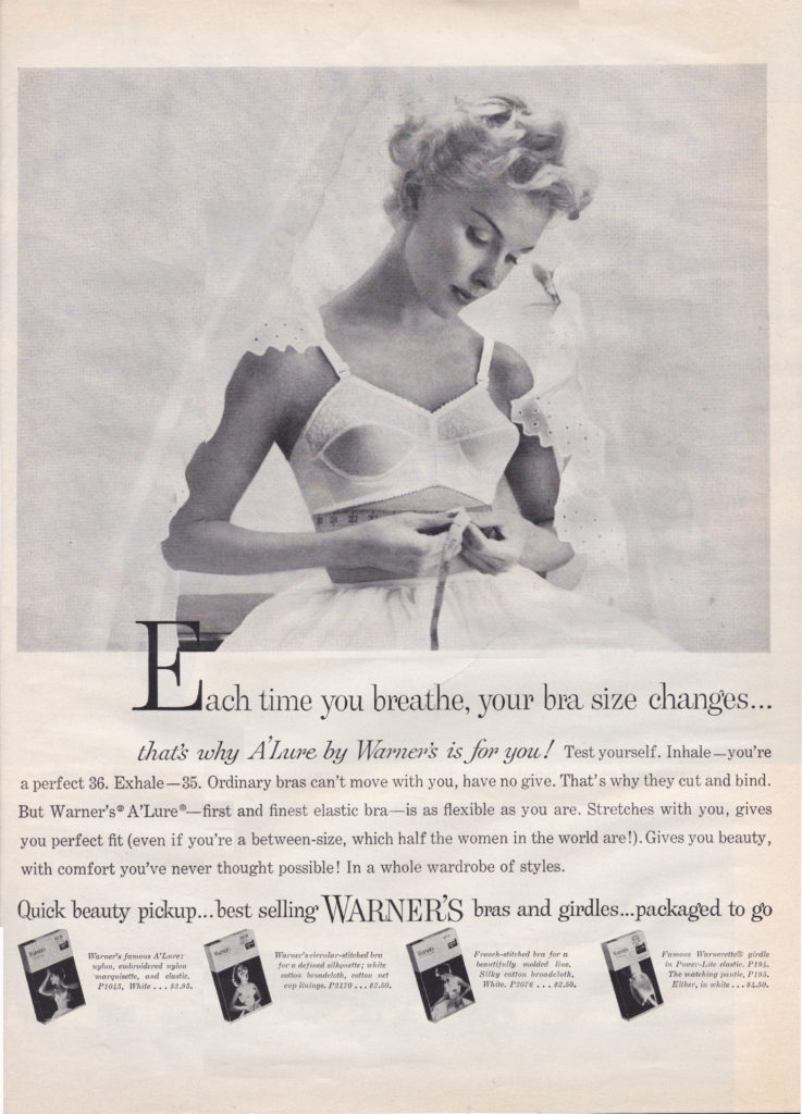 'Each Time You Breathe, Your Bra Size Changes...' Advertisement For A'Lure By Warner, c. 1950s, USA. The Underpinnings Museum