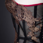 Sheer Corset With Cups & Lace Appliqué By Sparklewren, c. 2012, United Kingdom. The Underpinnings Museum. Photography by Tigz Rice