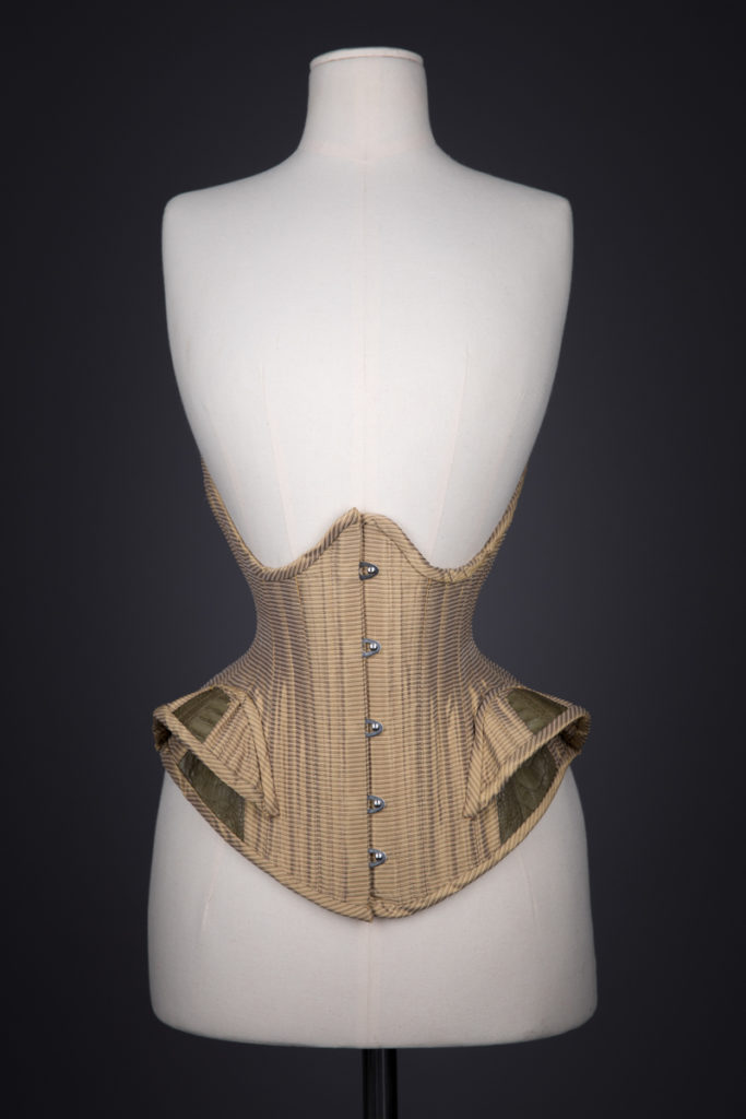 Silk & Leather Underbust Corset With Hip Fins By Sparklewren, c. 2011, United Kingdom. The Underpinnings Museum. Photography by Tigz Rice.