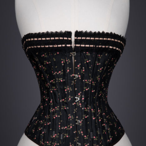 595637ed0f0 Floral Cotton Corset With Exposed Spiral Steel Bones   Ribbonslot Lace Trim