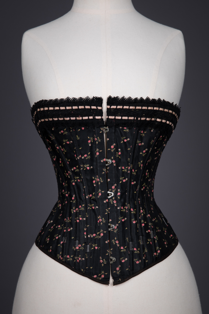 Floral Cotton Corset With Exposed Spiral Steel Bones & Ribbonslot Lace Trim, c. 1900s, Germany. The Underpinnings Museum. Photography by Tigz Rice