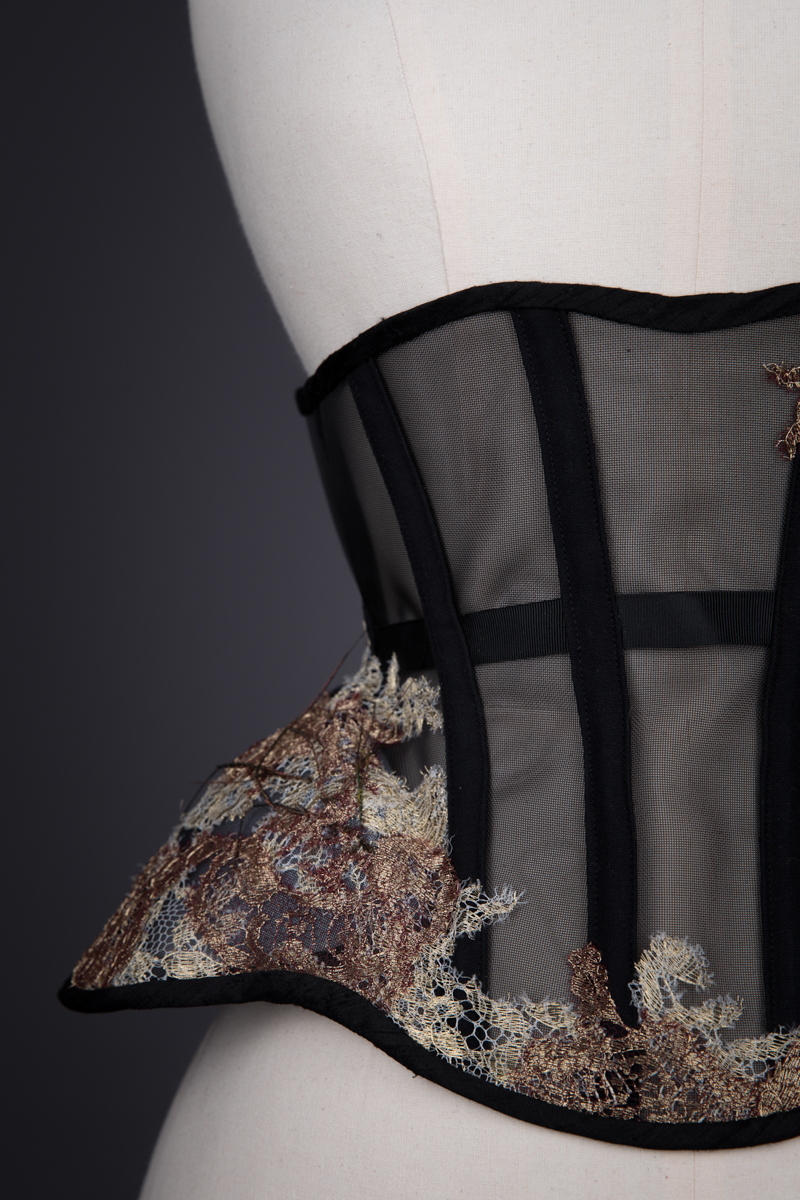 Sheer Underbust Corset With Lace Appliqué & Feathers By Sparklewren, c. 2013, United Kingdom. The Underpinnings Museum. Photography by Tigz Rice
