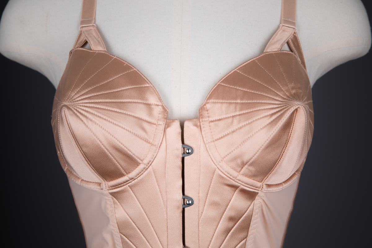 'Surpiqué' Quilted Satin Cone Bra Bodysuit By Jean Paul Gaultier For La Perla, c. 2010, Italy. The Underpinnings Museum. Photography by Tigz Rice.