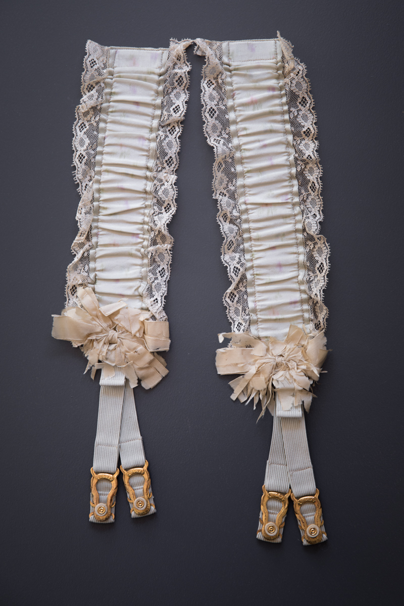 Watered Silk & Elastic Hose Supporters With Gilded Suspender Clips, c. 1890s, USA. The Underpinnings Museum. Photography by Tigz Rice.
