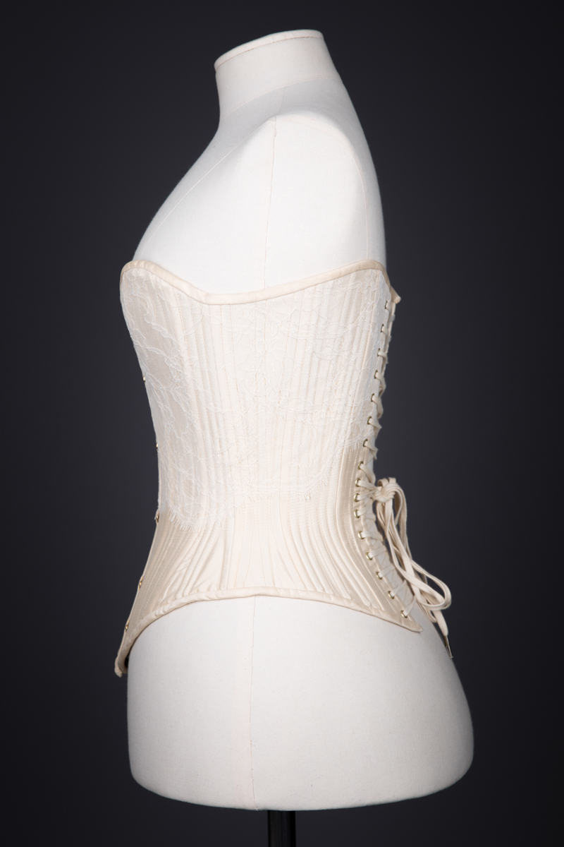 Champagne Silk & Lace Sweetheart Overbust Corset By Sparklewren, c. 2011, United Kingdom. The Underpinnings Museum. Photography by Tigz Rice