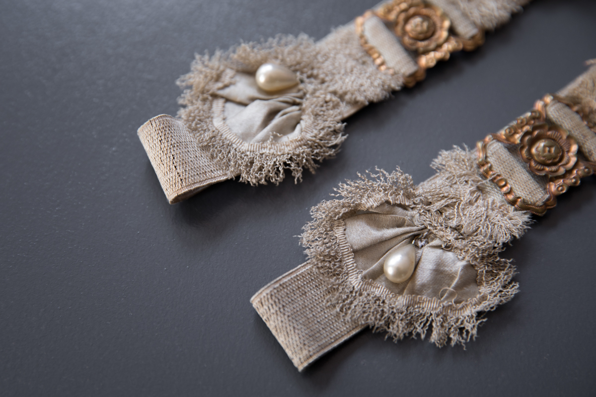 Elastic Garters With Feathers, Pearls & Gilt Clips, c. 1910s, Great Britain. The Underpinnings Museum. Photography by Tigz Rice.