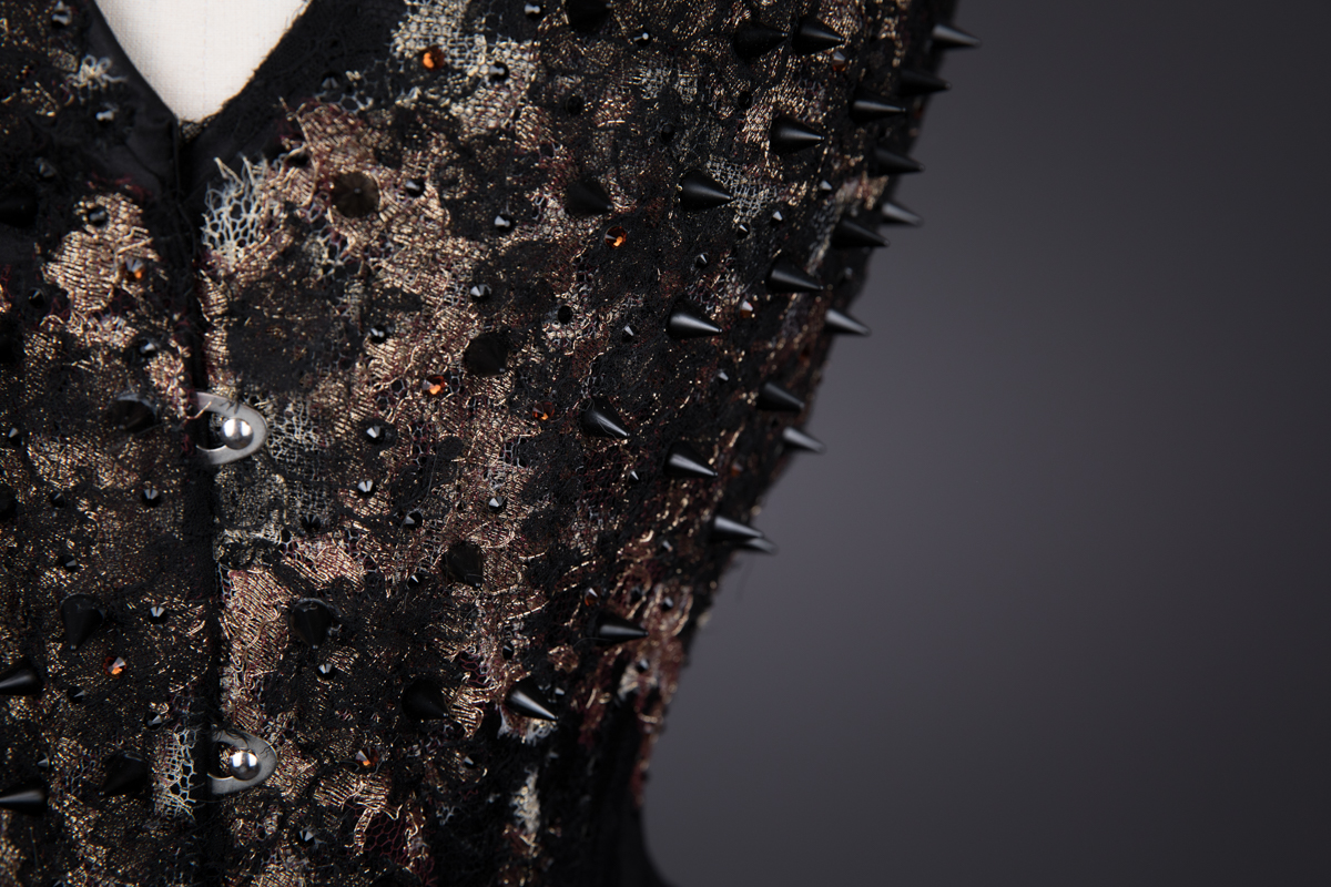 'Burning Coals' Silk & Lace Appliqué Overbust Corset By Sparklewren, 2012, United Kingdom. The Underpinnings Museum. Photography by Tigz Rice.