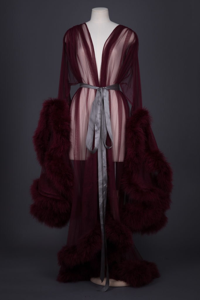 'Cassandra' Tulle & Marabou Feather Dressing Gown By Boudoir By D'Lish, c. 2010s, USA. The Underpinnings Museum. Photography by Tigz Rice.
