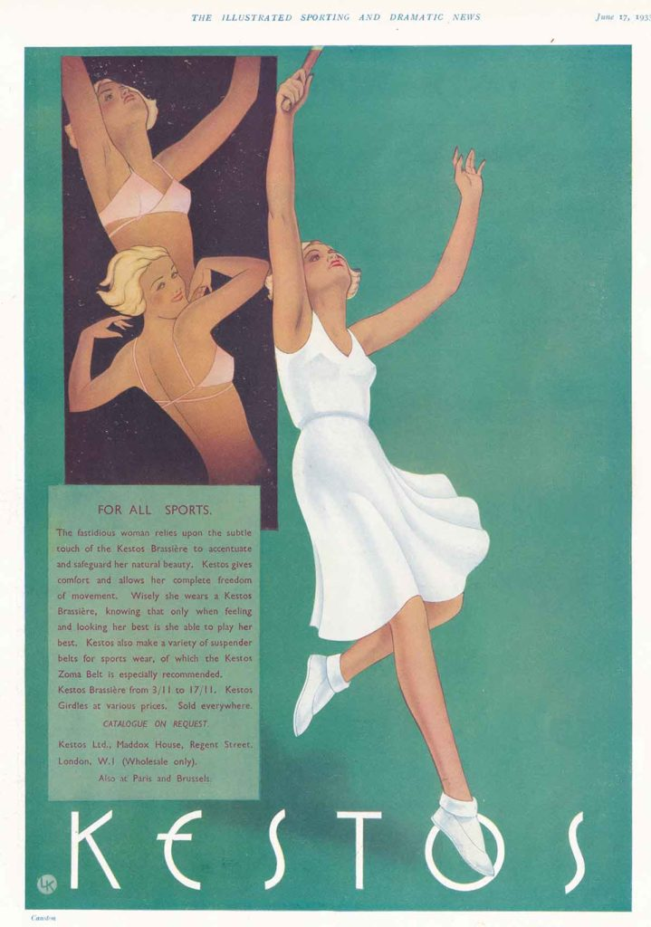'For All Sports' Brassiere Advertisement By Kestos, 1933, Great Britain. The Underpinnings Museum.