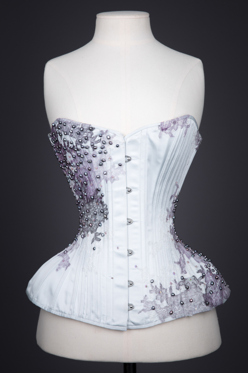 'Love In A Mist' Silk & Lace Appliquéd Overbust Corset By Sparklewren, 2015, UK. The Underpinnings Museum. Photography by Tigz Rice