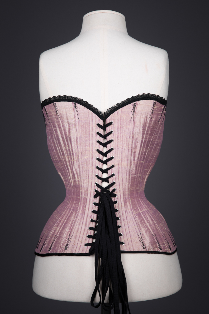 Silk Dupion & Lace Appliqué Overbust Corset By Sparklewren, c. 2011, UK. The Underpinnings Museum. Photography by Tigz Rice.