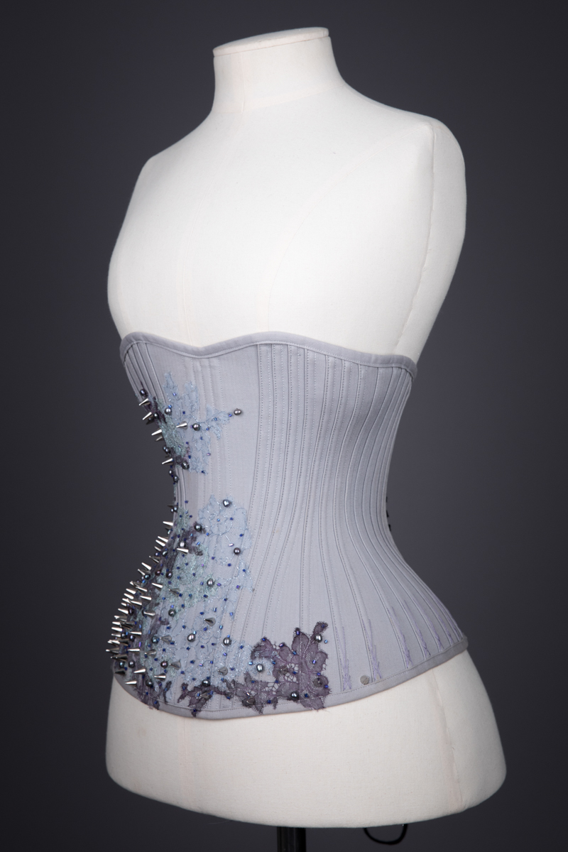 Herringbone Coutil & Lace Appliqué 'Jay' Underbust Corset By Sparklewren, c. 2015, UK. The Underpinnings Museum. Photography by Tigz Rice.