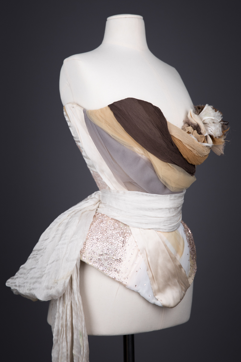 Draped Silk 'Birdswing' Corset By Sparklewren, c. 2012, UK. The Underpinnings Museum. Photography by Tigz Rice.