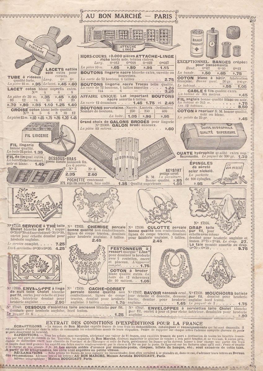 Au Bon Marché 1916 Department Store Catalogue, France. The Underpinnings Museum
