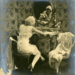 Early advertsing photograph of model wearing Spirella corset, c. 1914-1920, The Garden City Collection. FGCHM100.246.11a