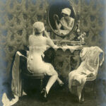 Early advertsing photograph of model wearing Spirella corset, c. 1914-1920, The Garden City Collection. FGCHM100.246.12a