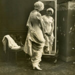 Early advertsing photograph of model wearing Spirella corset, c. 1914-1920, The Garden City Collection. FGCHM100.246.13a