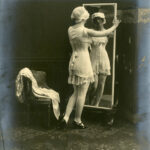 Early advertsing photograph of model wearing Spirella corset, c. 1914-1920, The Garden City Collection. FGCHM100.246.17a