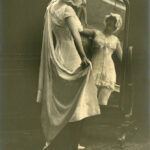 Early advertsing photograph of model wearing Spirella corset, c. 1914-1920, The Garden City Collection. FGCHM100.246.18a