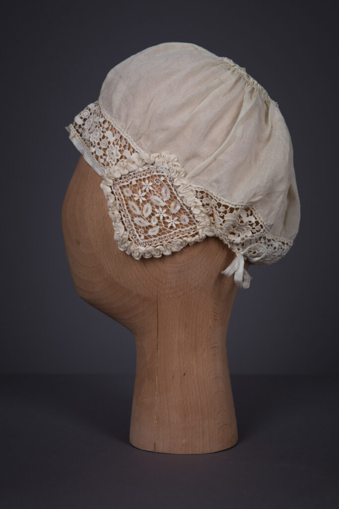 Silk Habotai & Chemical Lace Boudoir Cap With Ribbonwork, c. 1910s, Unknown. Photography by Tigz Rice. The Underpinnings Museum.