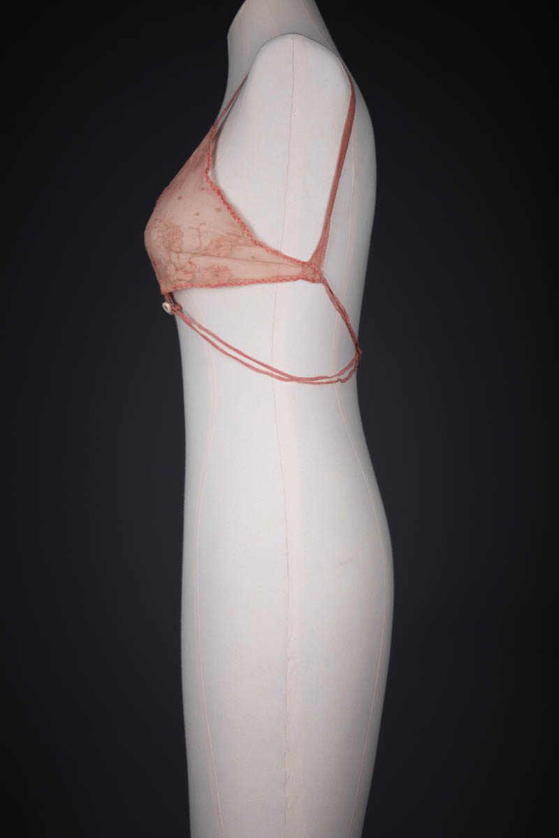 Embroidered Tulle & Elastic Homemade Kestos Style Bra, c. 1920s, Great Britain. The Underpinnings Museum. Photography by Tigz Rice.