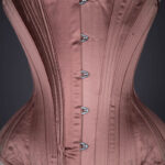 Satin Midbust Corset With Quilted Gores By Sparklewren, begun in 2016 and finished in 2019, UK. The Underpinnings Museum. Photography by Tigz Rice.