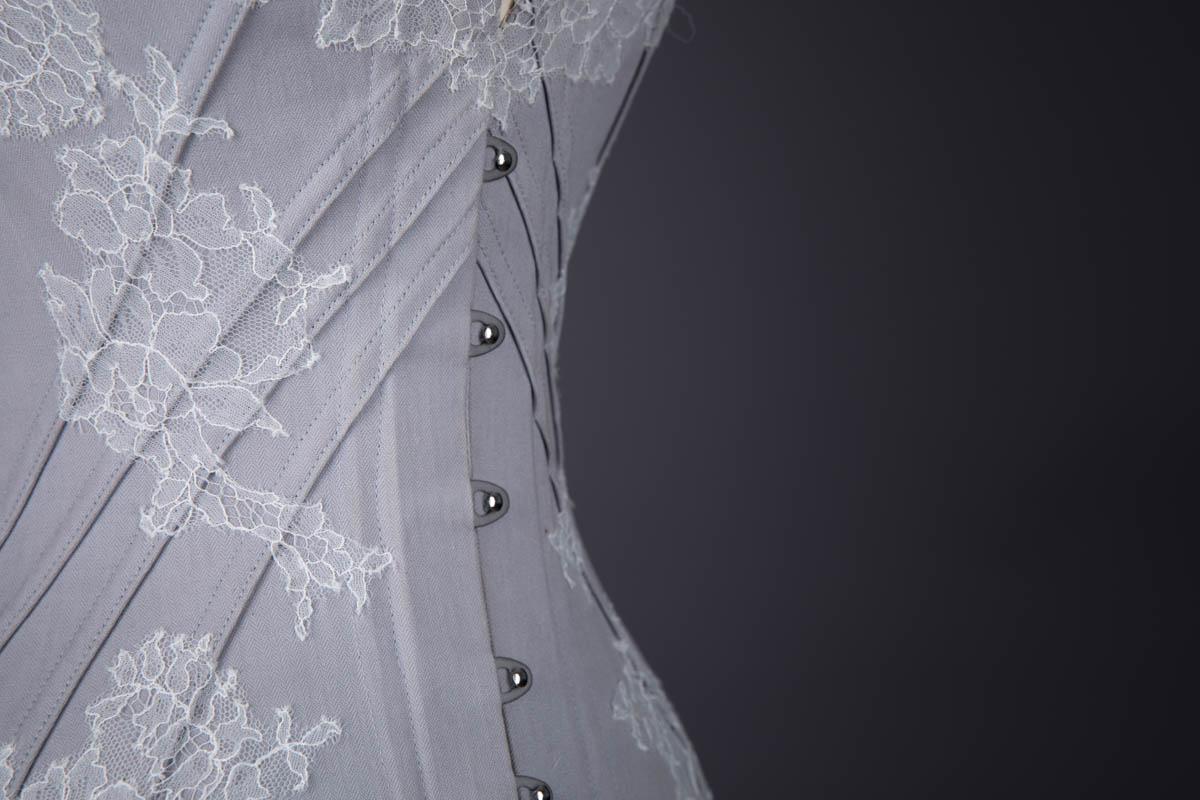 Soft Dove Coutil & Lace Appliqué Midbust Corset By Sparklewren, 2014, United Kingdom.