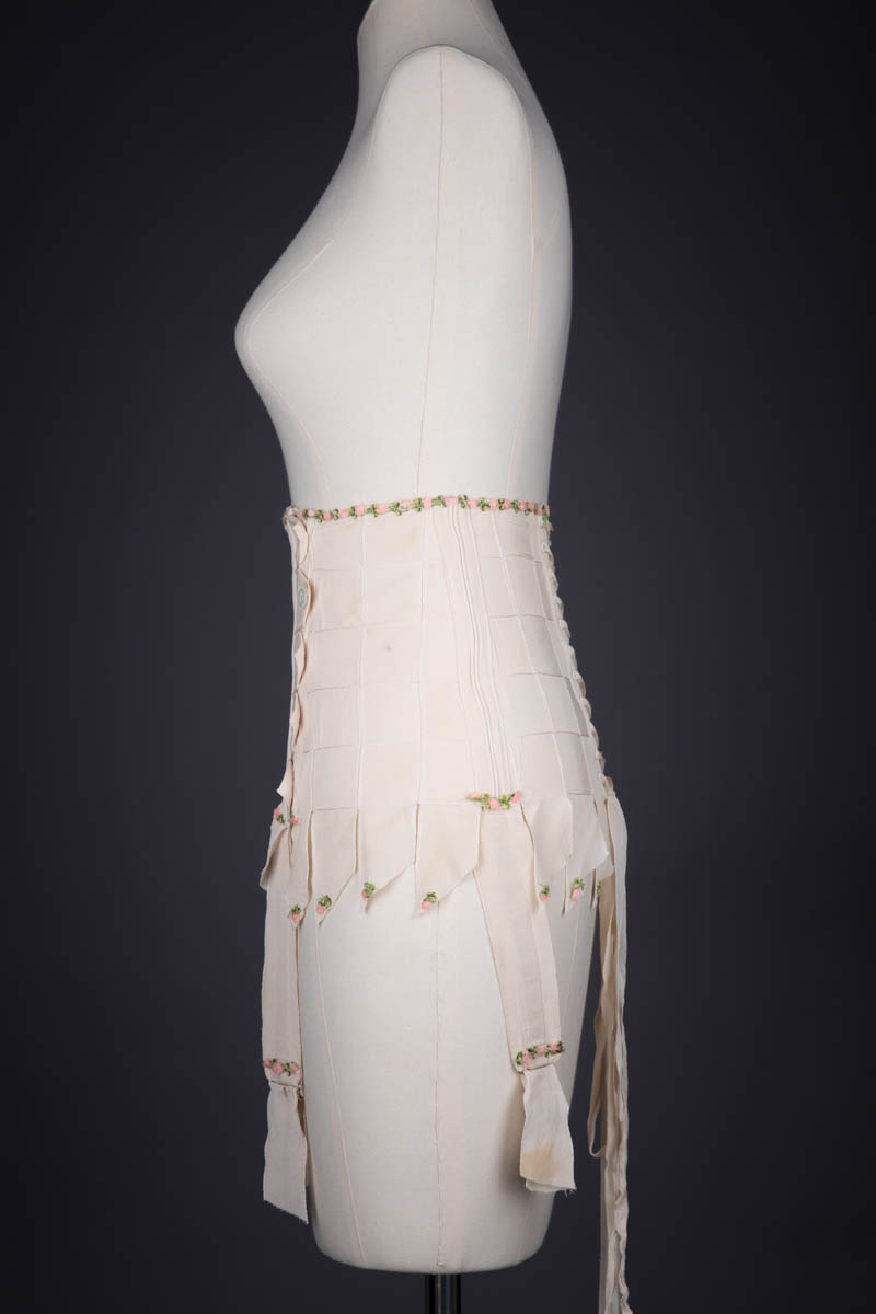 Silk Georgette Ribbon Girdle With Button Fastenings And Lacing, c. 1920s, France. The Underpinnings Museum. Photography By Tigz Rice.