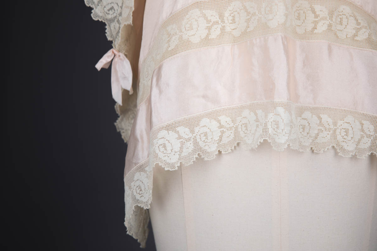 Pale Pink Habotai Silk & Filet Lace Bed Jacket, c. 1920s, USA. The Underpinnings Museum. Photography by Tigz Rice