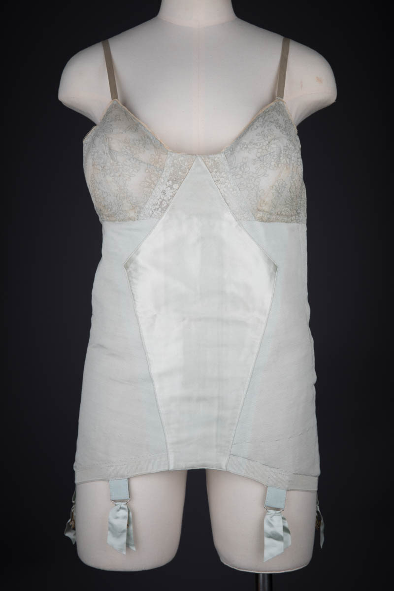 Ice Blue Lace, Satin & Stretch Mesh Corselet By Cadolle, c. 1940s, France. The Underpinnings Museum. Photography by Tigz Rice