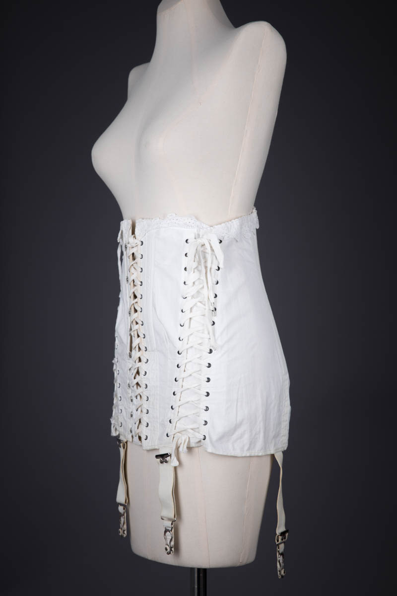 White Cotton Adjustable Maternity Corset By Gossard, c. 1914, USA. The Underpinnings Museum. Photography by Tigz Rice